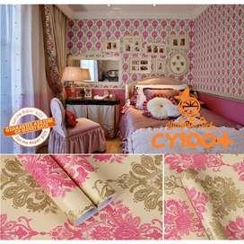 CY1004 Wallpaper Batik Gold List Cream 10 m X 45 cm Wallpaper Stiker