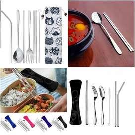 Alat makan set komplit sendok garpu sedotan sumpit stainless cantik