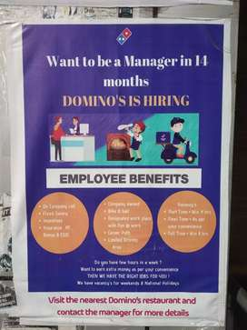 Required Delivery boy for Domino's Pizza