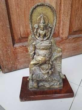 Patung dewa dari kuningan tua tinggi 35 cm