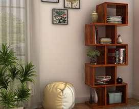 Bookshelf Zig-Zag Design In SHeesham Wood. Brand New.Best Quality.