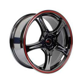 Velg Mobil HSR Saga R18 Pcd 5X114,3 Lebar Rata 8 ET50 Black Lips red