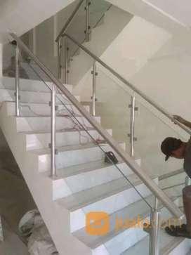 Railing tangga stainless + kaca #1623