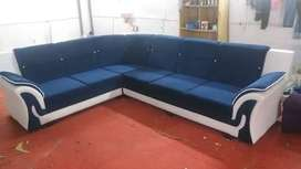 Brand new 6 seater corner sofa set in blue and white color at very rea