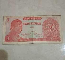 Uang kertas Indonesia jadul Rp 1 thn 1968 , Jend. Sudirman,