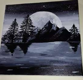 A scenery on canvas.. made up of acrylic paint...