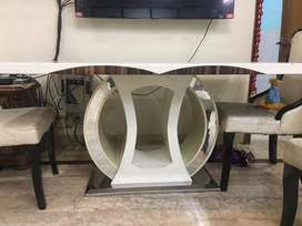 Marble top with designer base Dining Table with Six Chair
