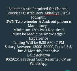 Salesmen Required For Pharma/Medicine Company