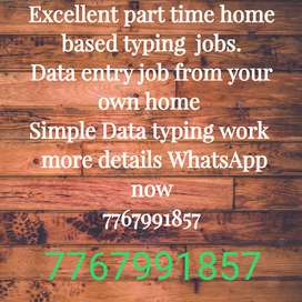 Home based part time Typing Data entry job