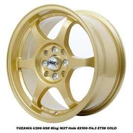 Velg racing YUZAWA U206 HSR R16X7 H8X100-114,3 ET38 GOLD