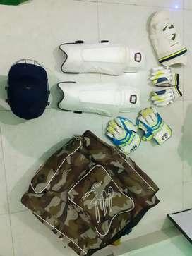 Cricket kit with bag batting glove, keeping pad helmet etc