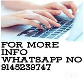 Part time income for job person upto 15,600/- Per month