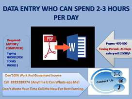 Data entry jobs part time job laptop must..