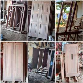 Kusen depan pintu 2/dobel komplit jendela kanan kiri kayu kamper