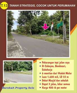 Tanah Pekarangan Murah Pinggir jalan raya di Cabeyah Bendosari Skh
