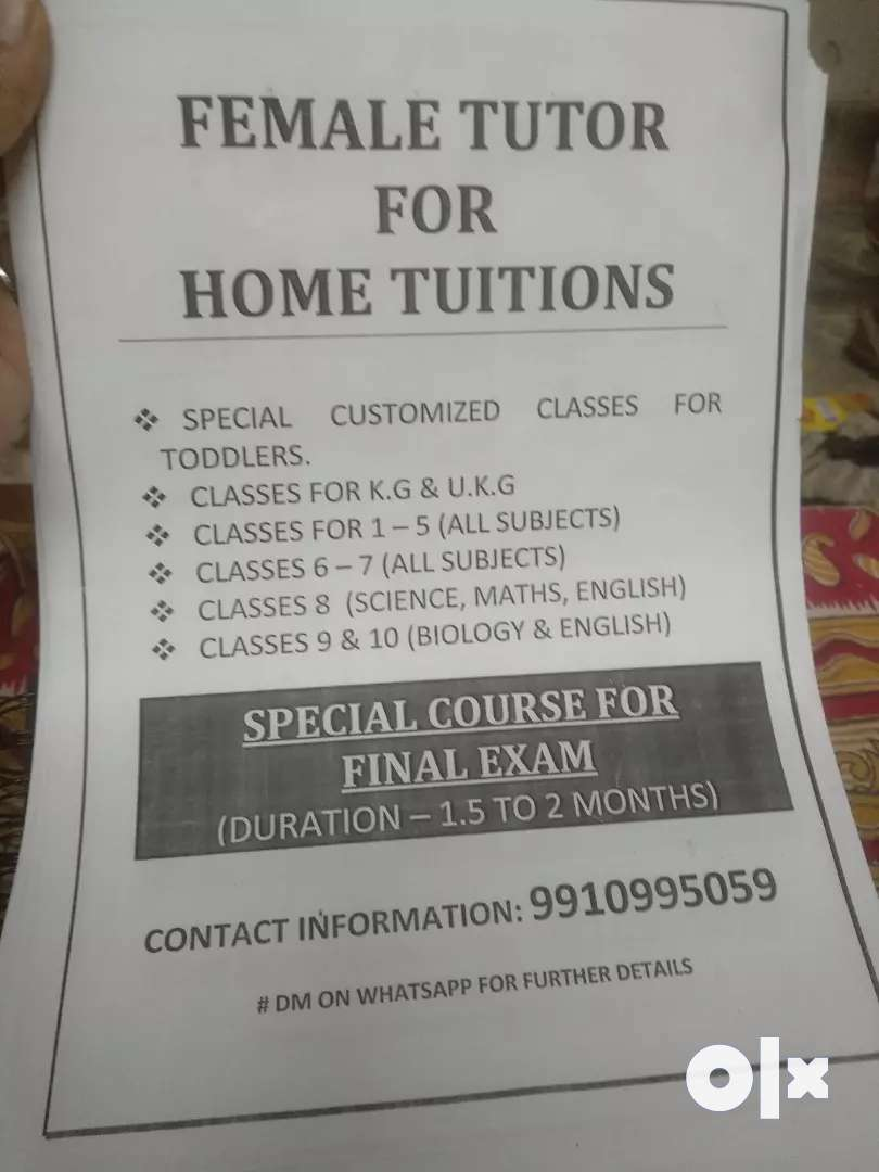Female home tutor available 0