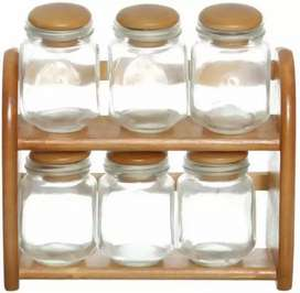 8 Pieces 2 Tier Glass Spices Jars Set With Wooden Stand