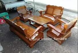 Bangku kursi tamu gajah jumbo material kayu jati.