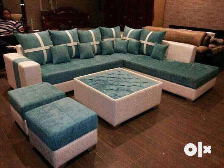 L shape sofa set with center table 0