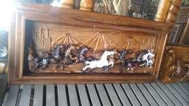 Hiasan Dinding Ukiran Kuda Kayu Jati 150cm