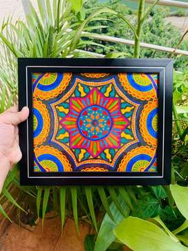 Mandala painting with hanging glass frame for sale!!