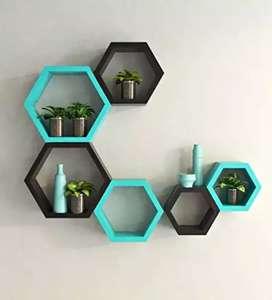 Wall shelf set of 6 (Hexagon)(Blue and Black)