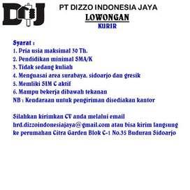 Lowongan Kurir PT. DIZZO INDONESIA JAYA