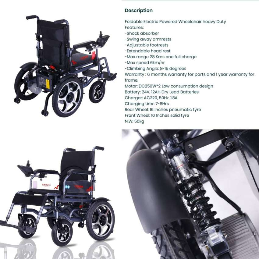Electric Wheelchair with Shocks & Big Battery Model 90H 0