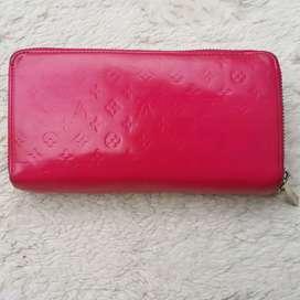 Dompet import eks LOUIS VUITTON pink double zip arround kulit asli kkh