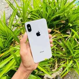 iPhone X 64Gb Silver Warna Favorit Fullset Mulus Terawat