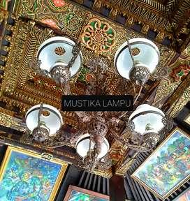 LAMPU GANTUNG ANTIK KLASIK ASLI KUNINGAN HIAS DEKOR RUMAH JOGLO GEBYOK