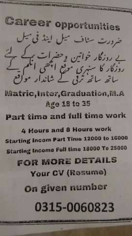 Urgant staff required Multan Lahore mian channu walo k liay ha just