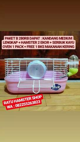 Paketan Kandang fullset plus Hamster Syrian 2ekor lengkap