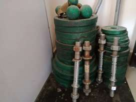Weight plates, bar and dumbbell rods