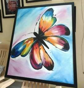 Colourful Battarfly on canvas