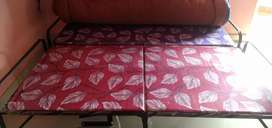 Folding Iron Bed with Two Mattress