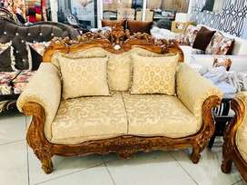 New 7 seater in teak pu polish  carved design