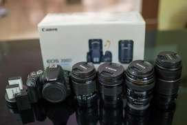 Canon 200d with 4 lens & box & 3 batteries