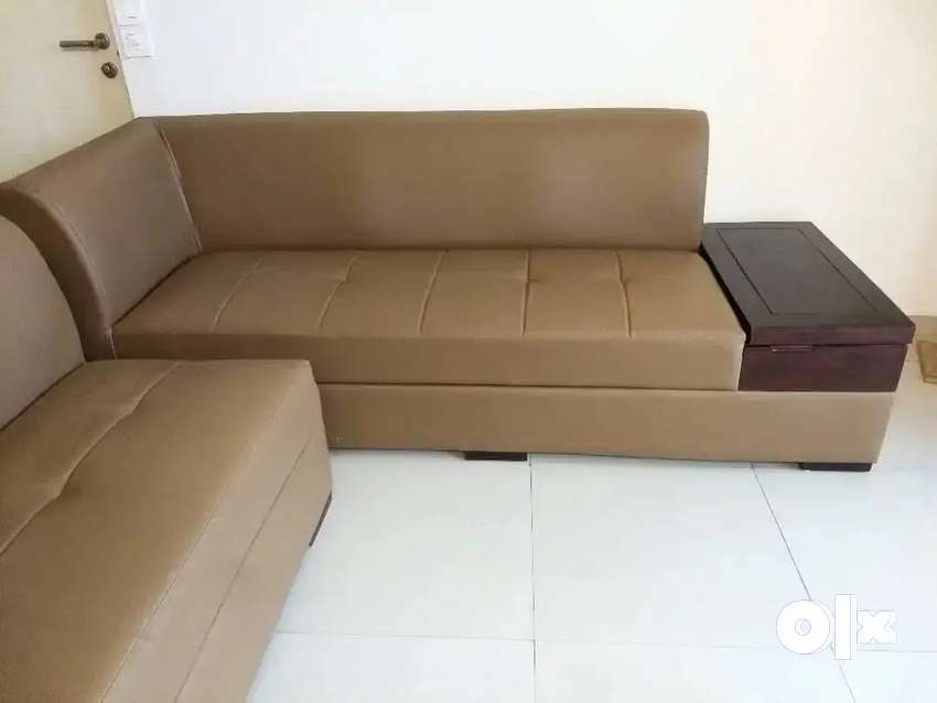 5 Seater L sofa - Tan Brown Leather Sofa with Wood Book Rack
