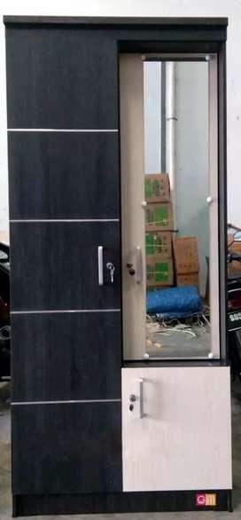 Lemari Pakaian 2 Pintu Kaca Masuk GM LP2KMB Dark Brown