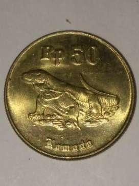 011= Uang Koin indonesia 50Rupr Komodo Langka Tahun 1996