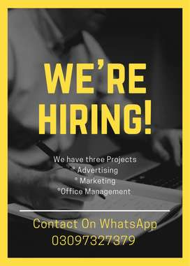 We required Male and female staff for Advertising Work