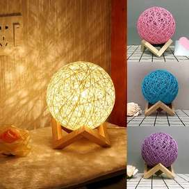 Bedside Rattan LED Lamp Night Light Solid Wood Bedroom Home Décor