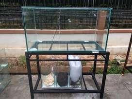 aquarium kaca 100x50x50 & sam filter bawah