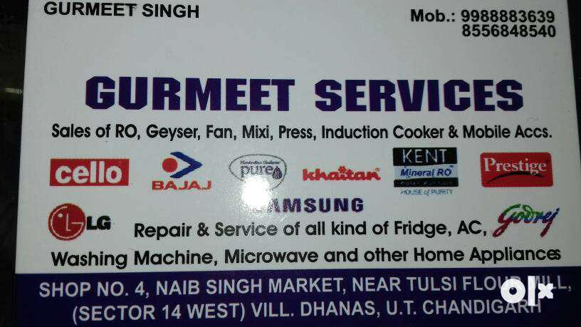 Service and spare of fridge, AC, washing machine, micro wave and R O 0