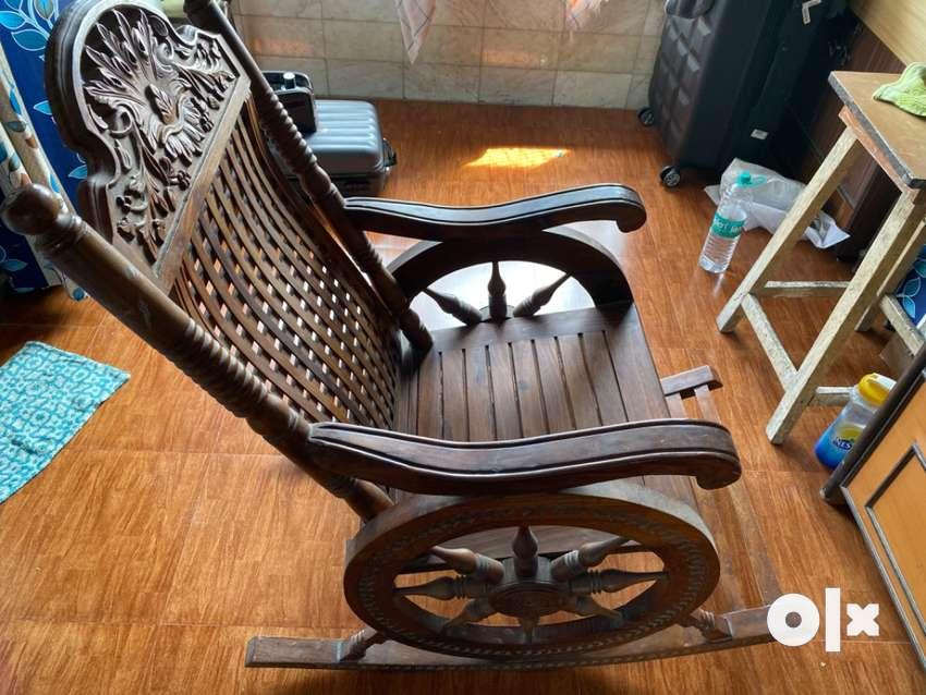 Fancy rocking Wooden chair 0
