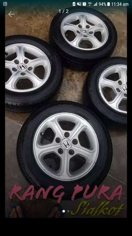 15 inch 5 nuts 114 pcd rims reborn with tyres for sale