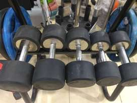 rubber coated dumbbells new