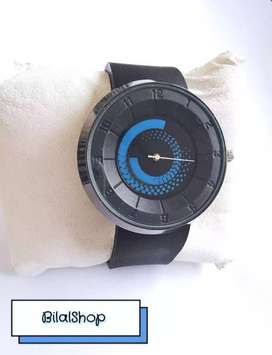 Black Silicone Strap Watch For Men