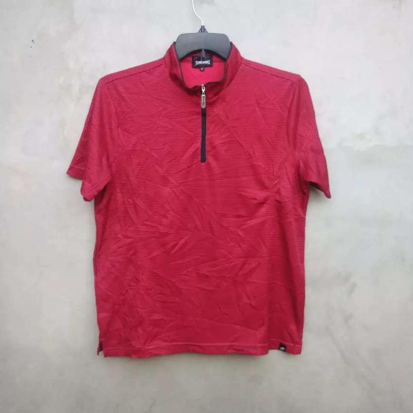 Kaos Spalding Sportwear Jersey Sepeda/Bike Shirt Half Zip Red Strip 0